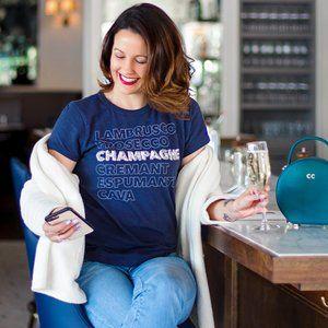 J. CREW Champagne T-Shirt Navy Blue Sequin {N17}